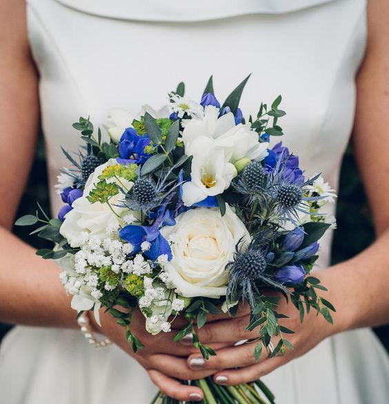 blue gentiana, blue delphinium and blue eryngium for the bouquet