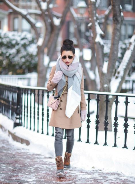 With oversized scarf, camel coat, crossbody bag and gray jeans