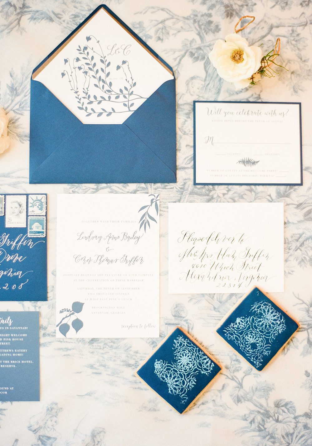 toile inspired wedding invitations - photo by Lisa Blume Photography http://ruffledblog.com/cyanotype-inspired-wedding-ideas