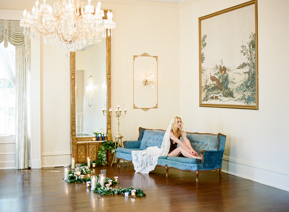 bridal boudoir - photo by Lisa Blume Photography http://ruffledblog.com/cyanotype-inspired-wedding-ideas