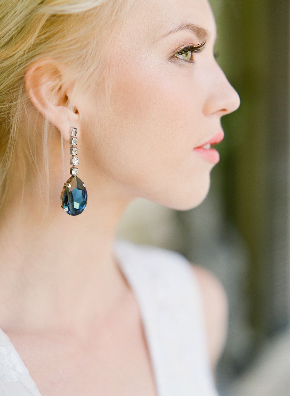 blue drop earrings - photo by Lisa Blume Photography http://ruffledblog.com/cyanotype-inspired-wedding-ideas