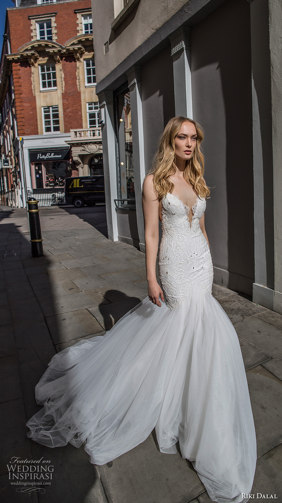 riki dalal fall 2017 bridal spagetti strap deep plunging sweetheart neckline heavily embellished bodice tulle skirt sexy elegant mermaid wedding dress low back chapel train (1906) mv