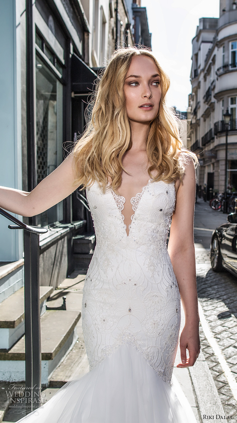 riki dalal fall 2017 bridal spagetti strap deep plunging sweetheart neckline heavily embellished bodice tulle skirt sexy elegant mermaid wedding dress low back chapel train (1906) zv