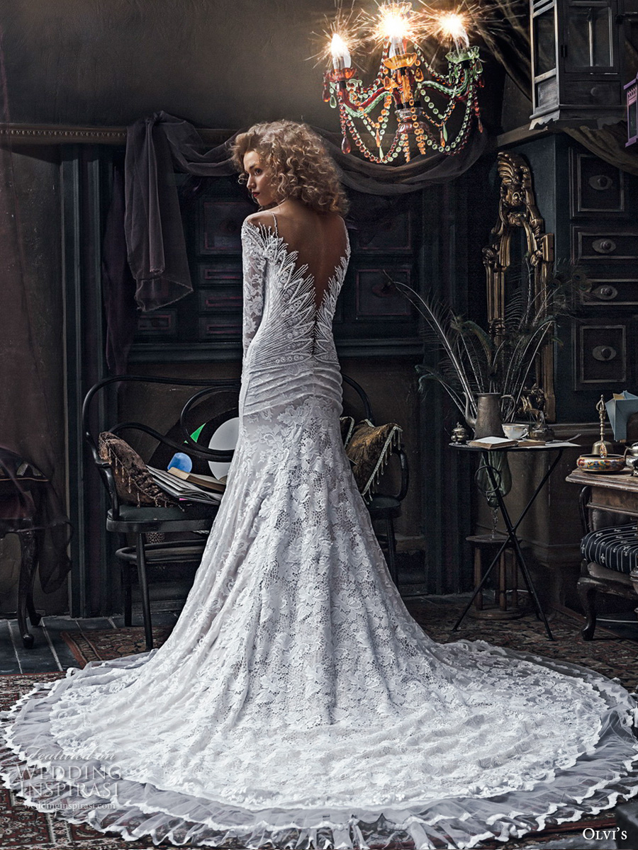 olvis 2017 couture bridal long sleeves v neck full embellishment lace elegant gorgeous trumpet wedding dress v back chapel train (2152) bv