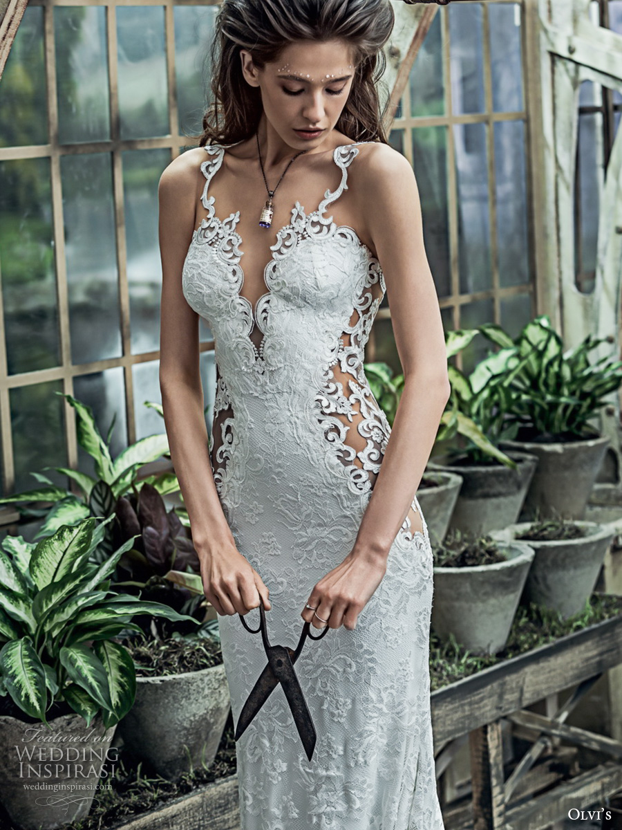 olvis 2017 couture bridal thin strap deep plunging v neckline full embellishment elegant sexy sheath wedding dress low back chapel train (2317) mv