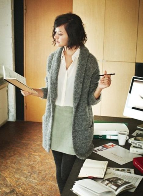 casual winter look with a dove grey mini, a white shirt and a comfy fluffy grey cardigan