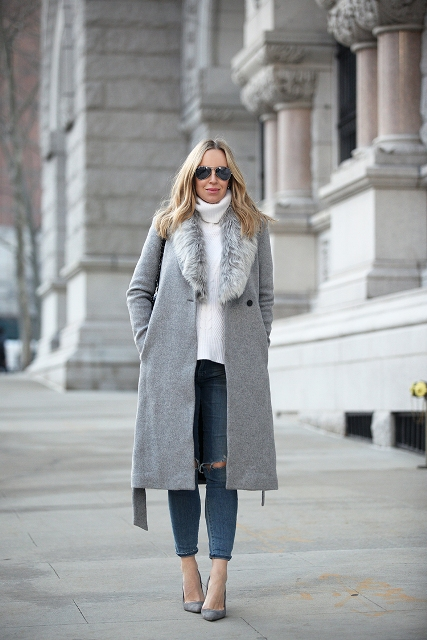 With white sweater, distressed jeans and gray shoes