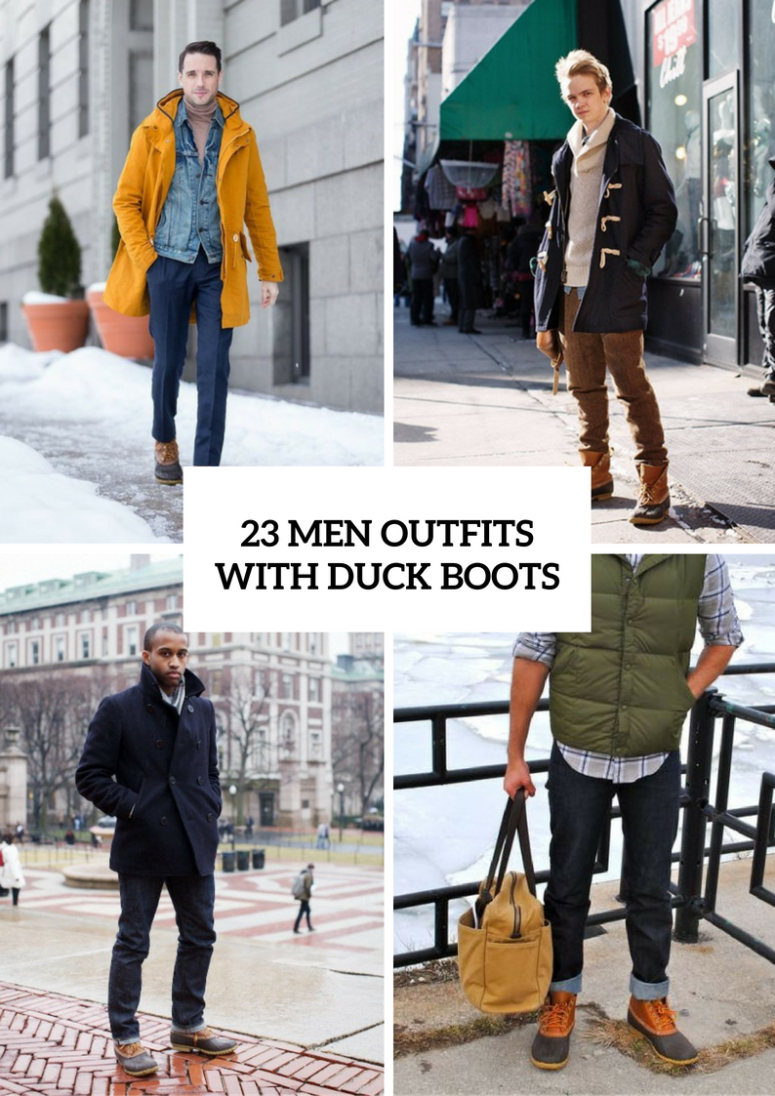 Men Outfits With Duck Boots For This Winter