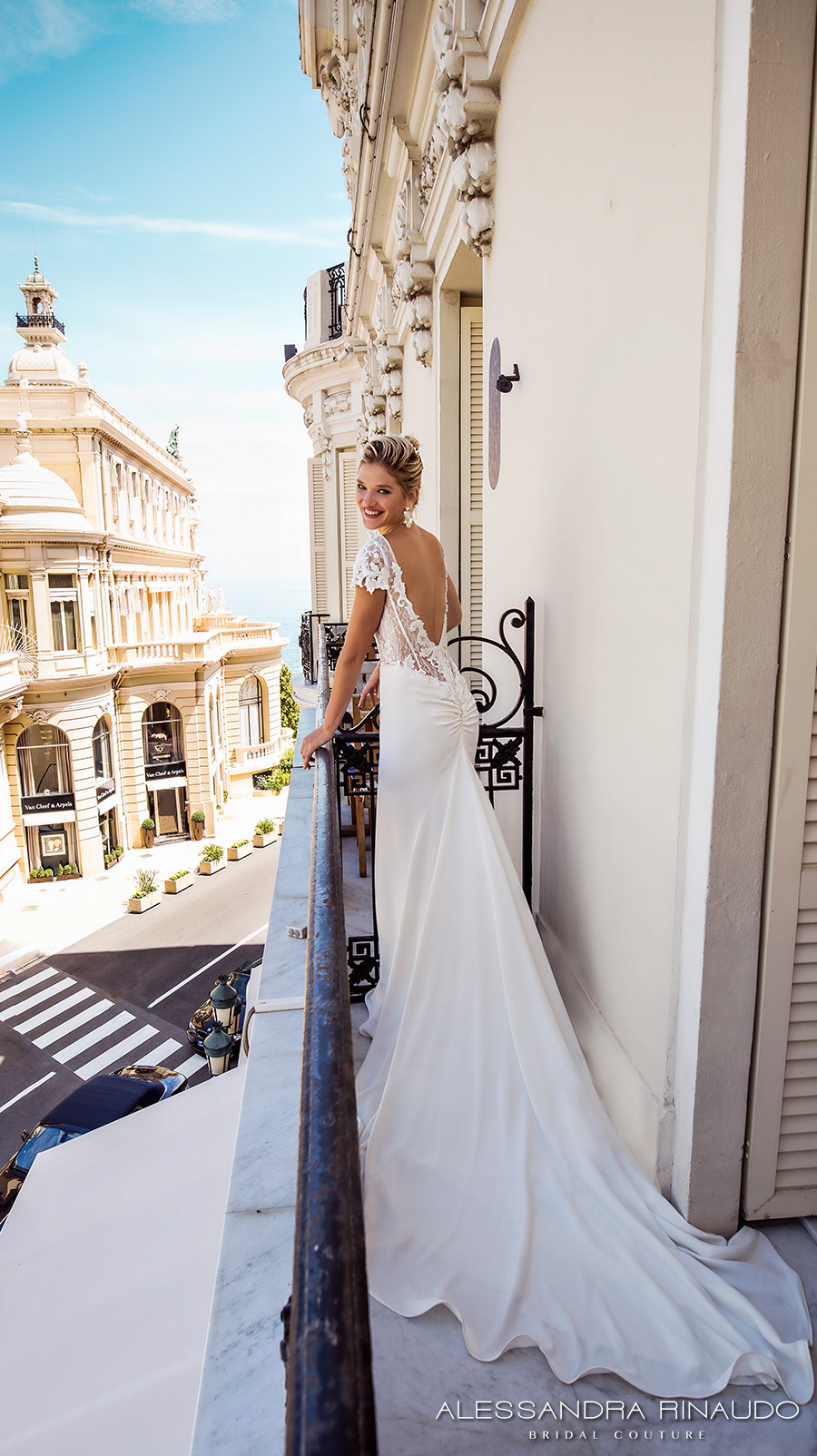 alessandra rinaudo 2017 bridal cap sleeves bateau neckline heavily embellished bodice elegant sheath wedding dress low back long train (bruna) bv
