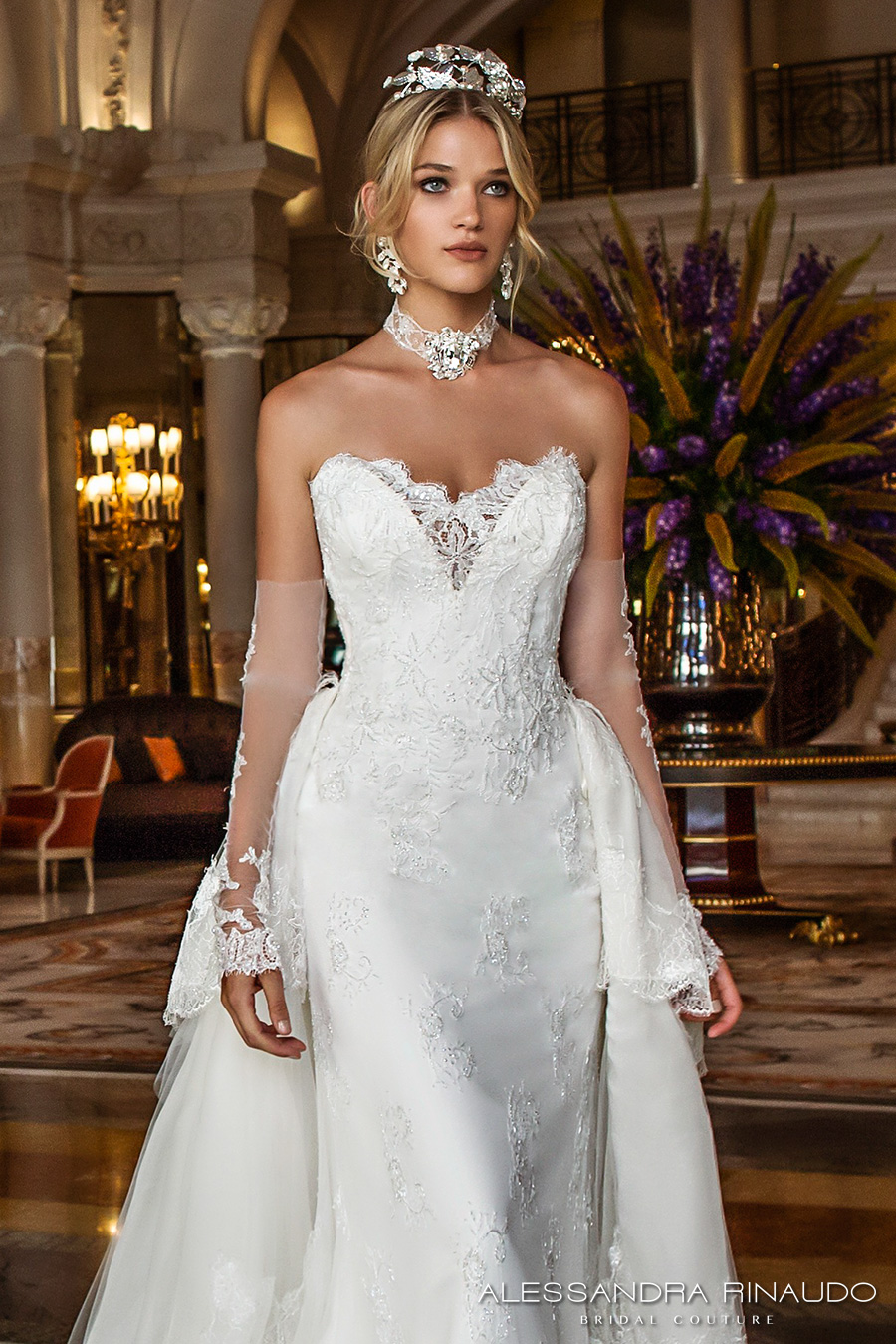 alessandra rinaudo 2017 bridal long fingerless lace gloves strapless deep sweetheart v neck heavily embellished bodice sheath wedding dress layered long train (barbarella) zv