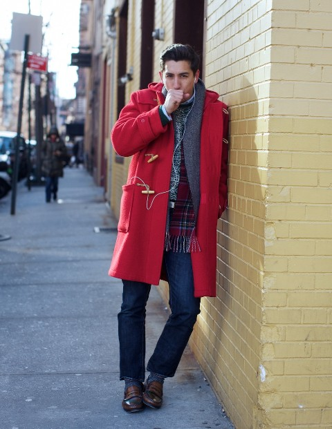 With gray sweater, plaid scarf, classic jeans and brown shoes