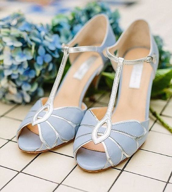 vintage serenity blue strap heels with silver