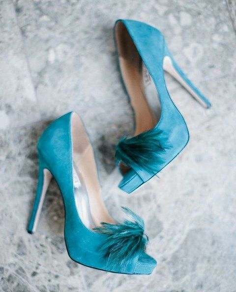 suede tiffany blue heels with feathers