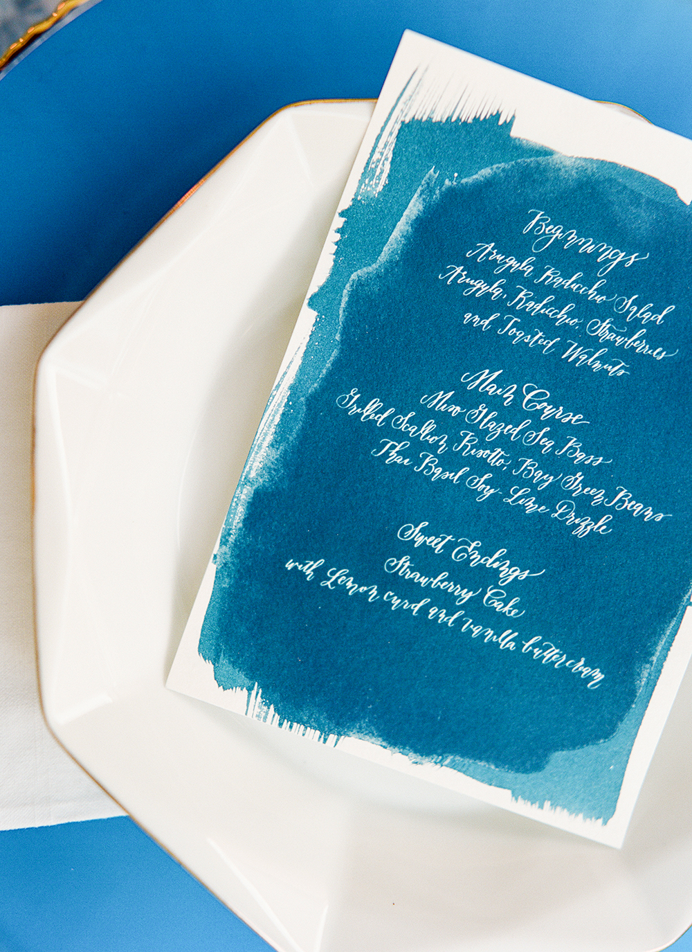cyan wedding stationery - photo by Lisa Blume Photography http://ruffledblog.com/cyanotype-inspired-wedding-ideas