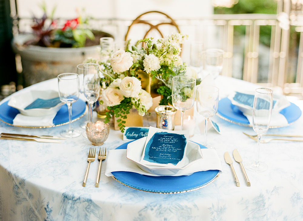 tablescape - photo by Lisa Blume Photography http://ruffledblog.com/cyanotype-inspired-wedding-ideas