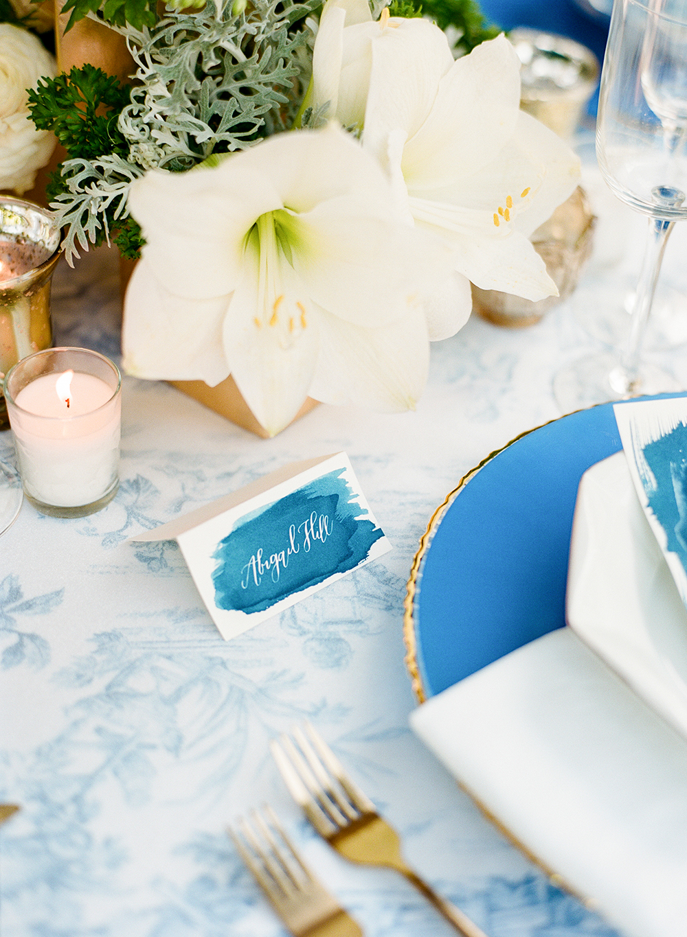 cyan name card - photo by Lisa Blume Photography http://ruffledblog.com/cyanotype-inspired-wedding-ideas