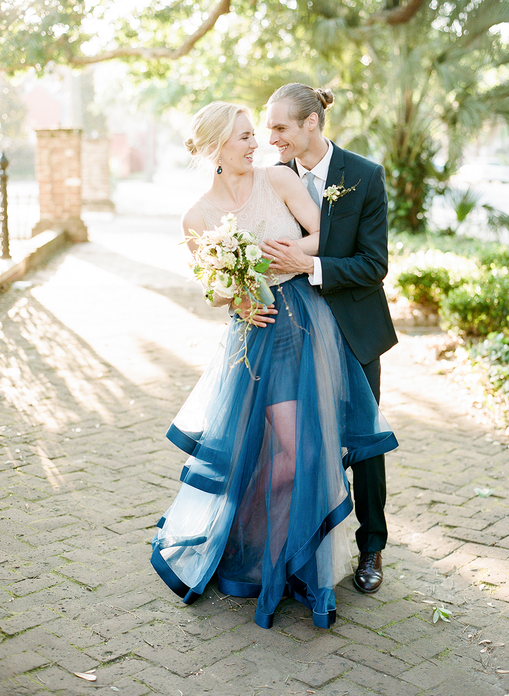 modern bridal fashion - photo by Lisa Blume Photography http://ruffledblog.com/cyanotype-inspired-wedding-ideas