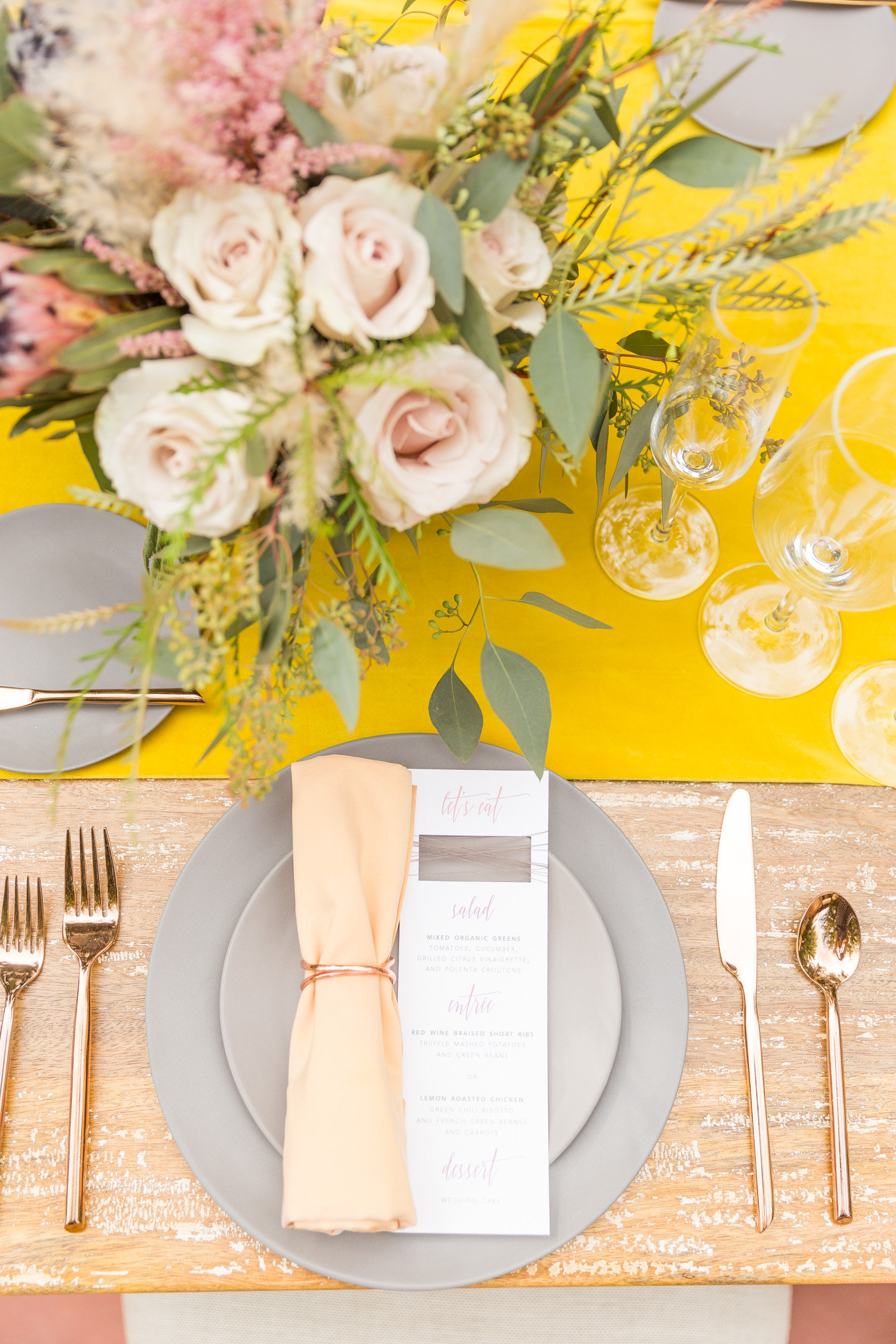 modern wedding table inspiration - photo by Karlee K Photography http://ruffledblog.com/cheerful-desert-wedding-inspiration-with-bright-yellow