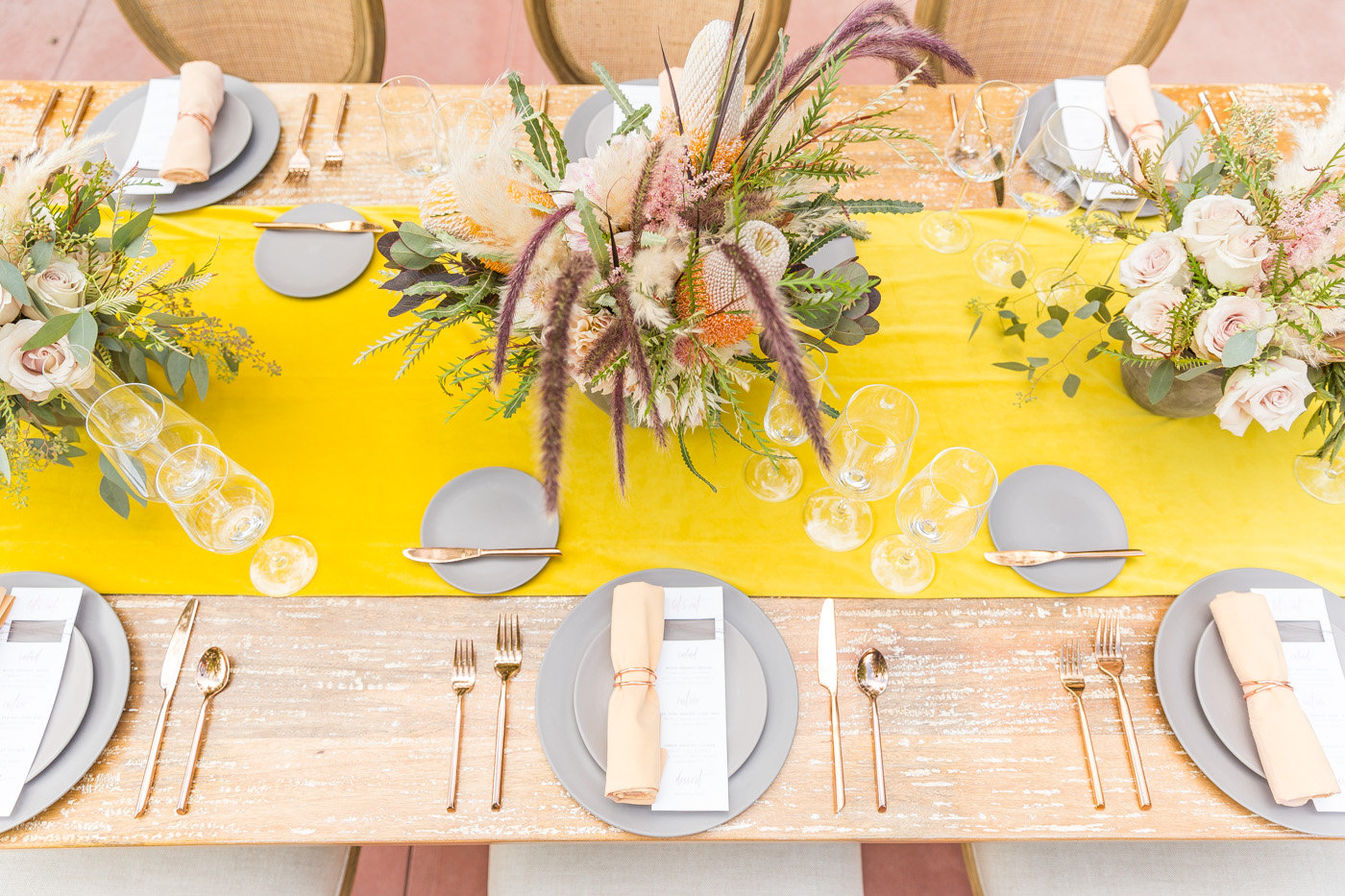 bright wedding tablescape - photo by Karlee K Photography http://ruffledblog.com/cheerful-desert-wedding-inspiration-with-bright-yellow