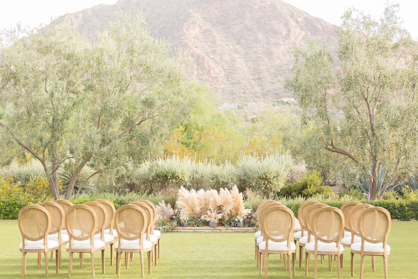 ceremony setup - photo by Karlee K Photography http://ruffledblog.com/cheerful-desert-wedding-inspiration-with-bright-yellow