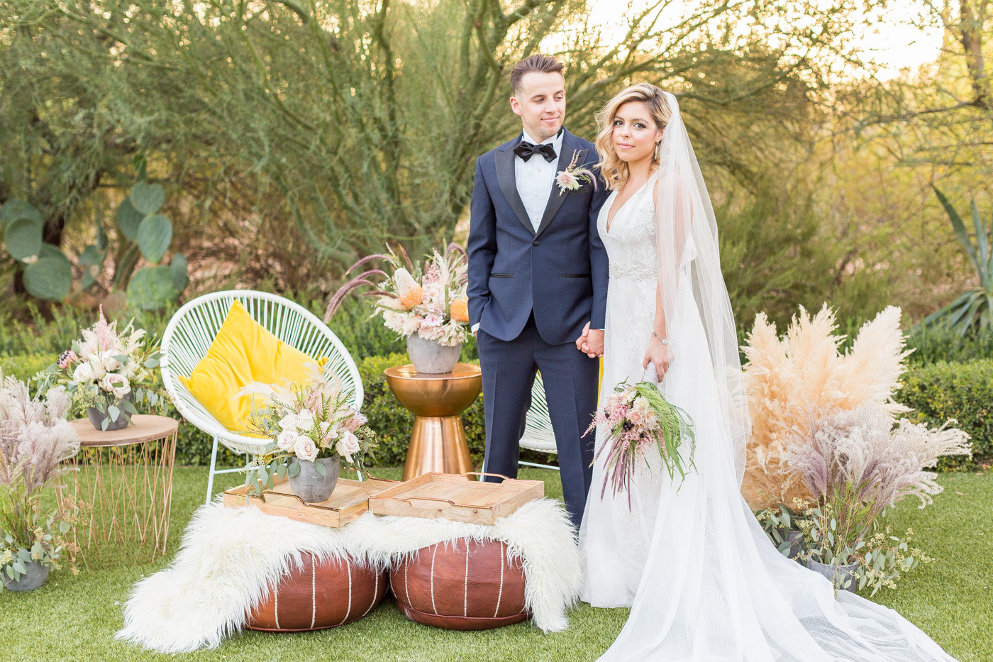 modern wedding photography - photo by Karlee K Photography http://ruffledblog.com/cheerful-desert-wedding-inspiration-with-bright-yellow