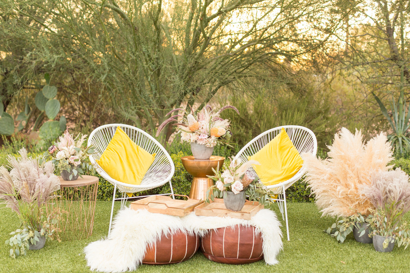 wedding lounge area - photo by Karlee K Photography http://ruffledblog.com/cheerful-desert-wedding-inspiration-with-bright-yellow