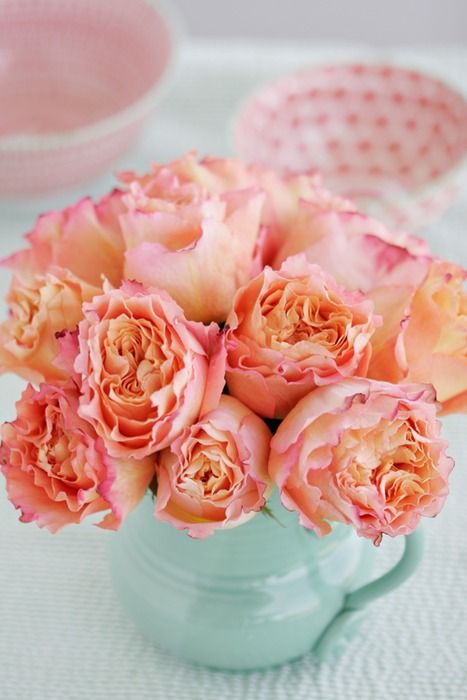 peach and pink roses in a mint pitcher