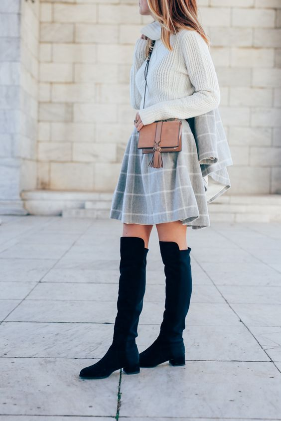white turtleneck sweater, a windowpane skirt and suede keen boots