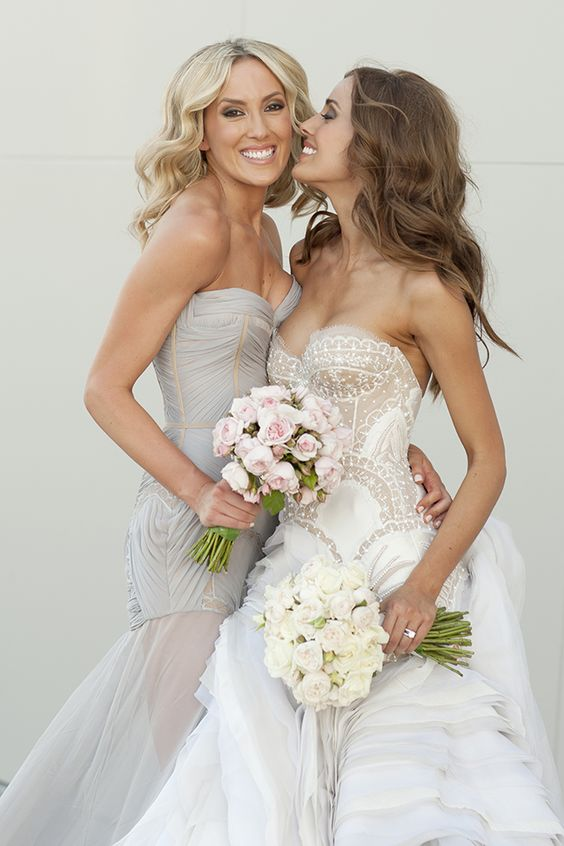strapless wedding gowns in grey and nude and ivory