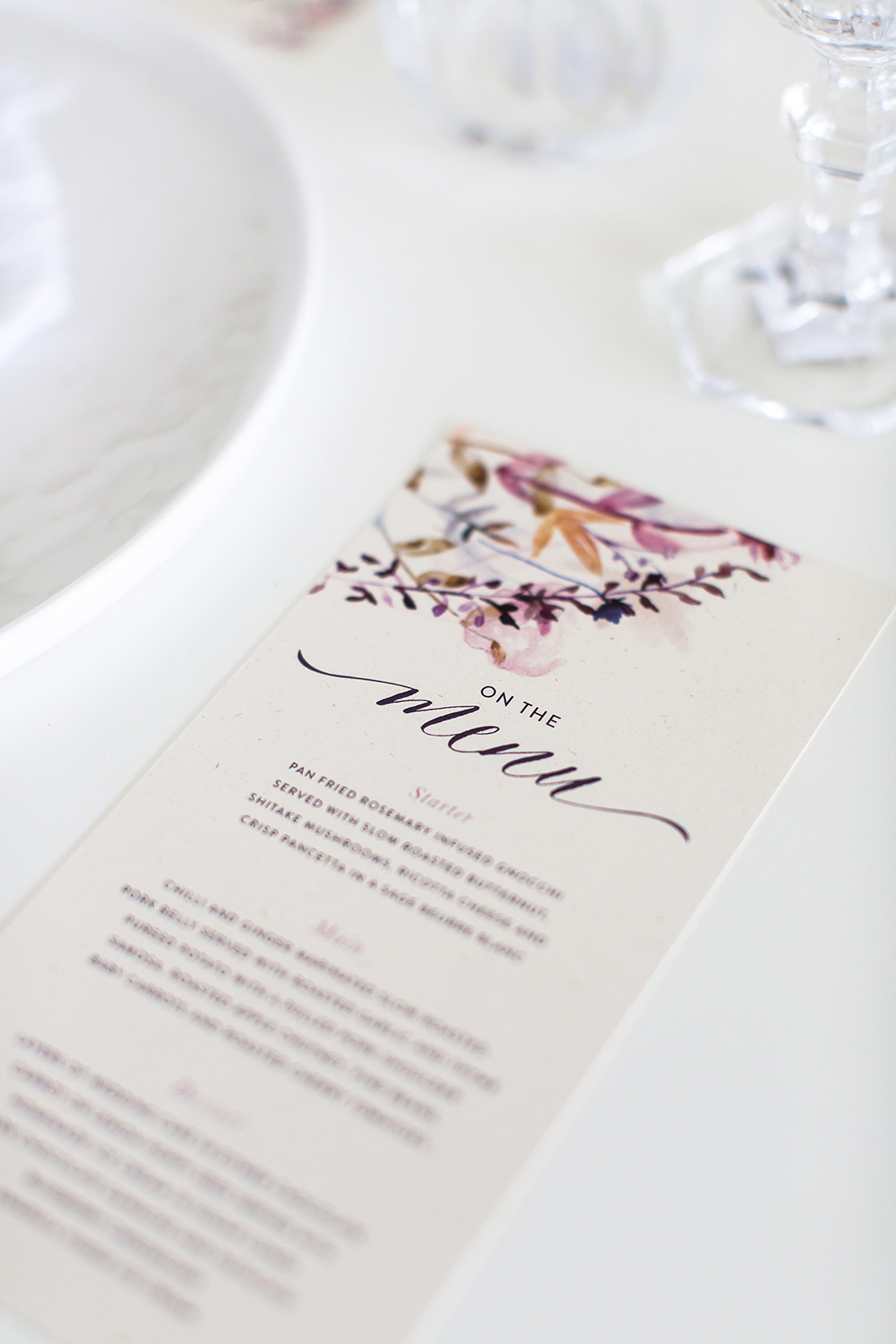 wedding menus - photo by Wesley Vorster http://ruffledblog.com/modern-chic-boho-fall-wedding-inspiration