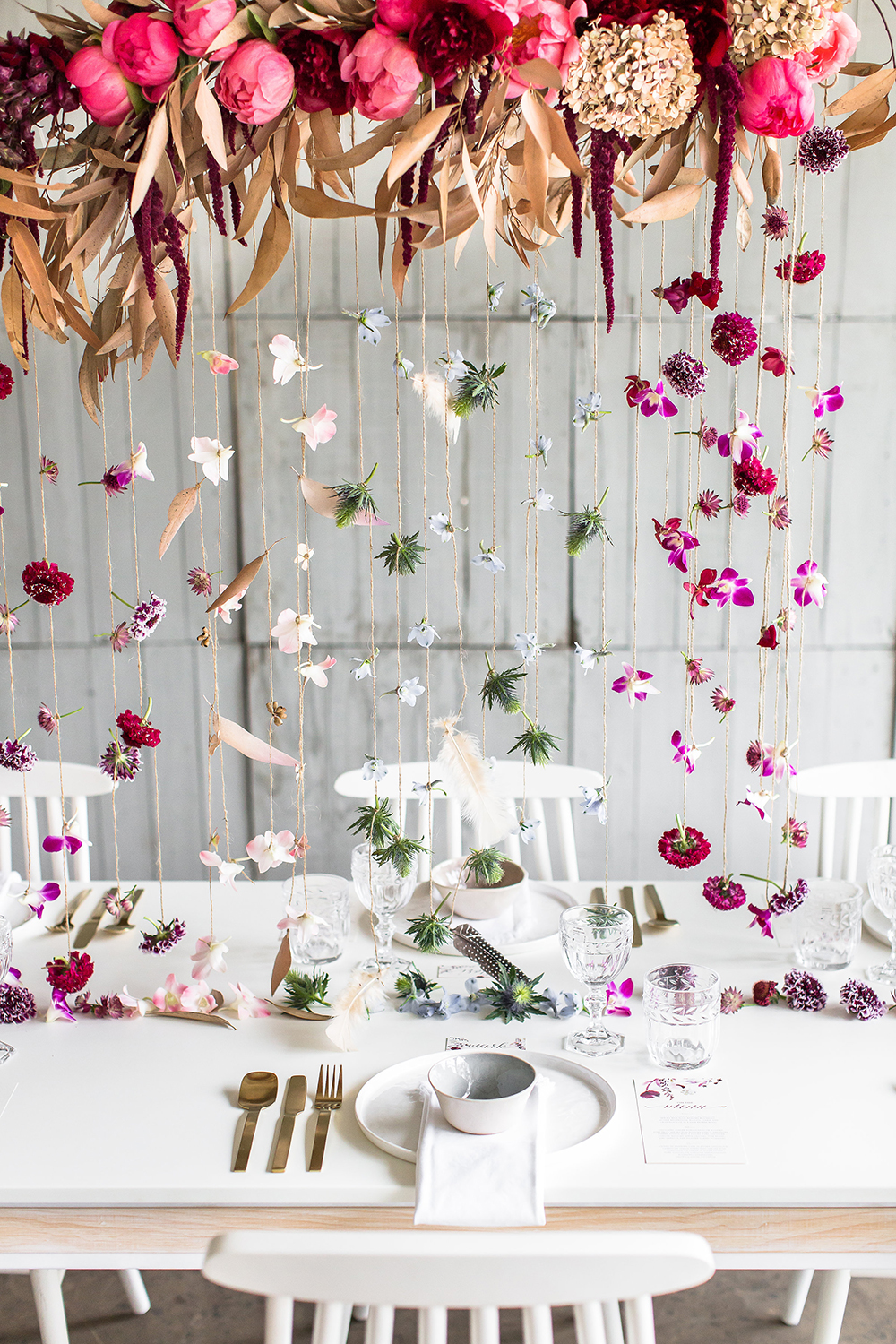 hanging centerpieces - photo by Wesley Vorster http://ruffledblog.com/modern-chic-boho-fall-wedding-inspiration