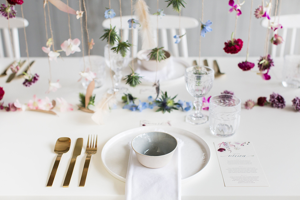wedding place settings - photo by Wesley Vorster http://ruffledblog.com/modern-chic-boho-fall-wedding-inspiration