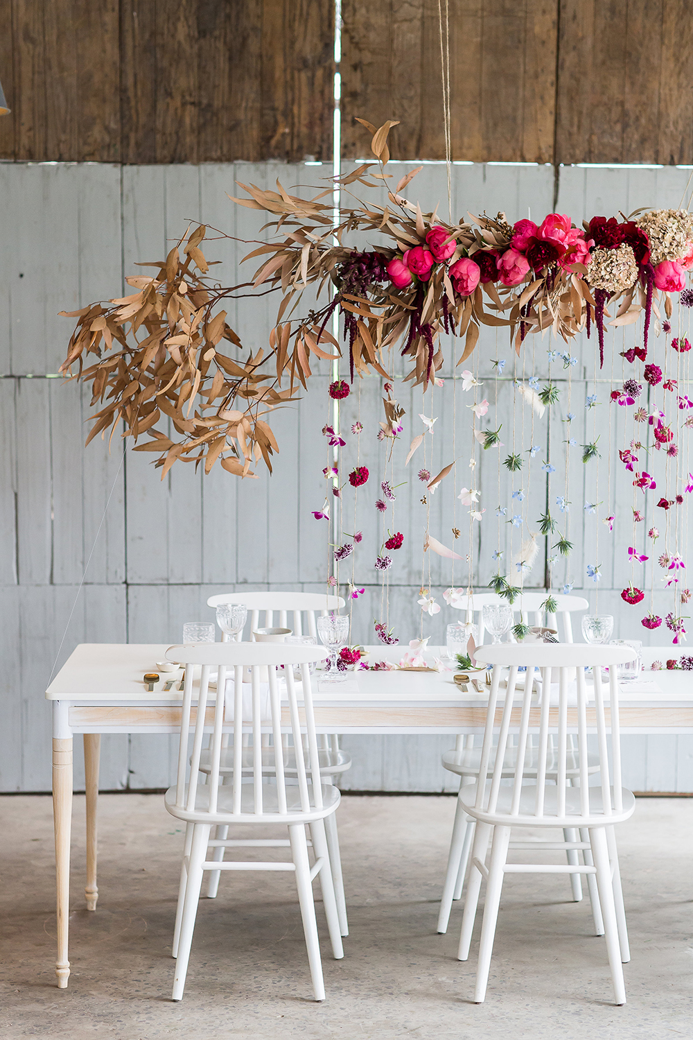 white wedding ideas - photo by Wesley Vorster http://ruffledblog.com/modern-chic-boho-fall-wedding-inspiration