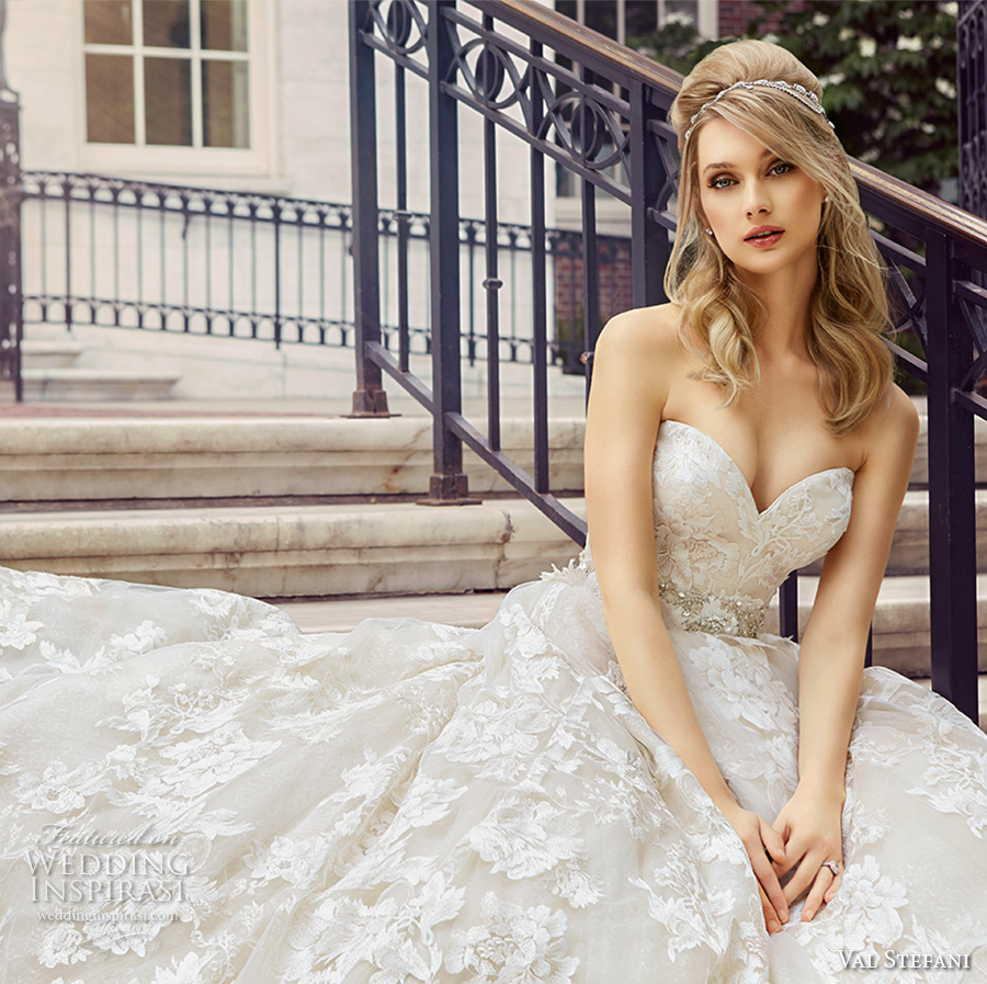 val stefani spring 2017 bridal strapless sweetheart neckline full embellishment beautiful romantic princess a line wedding dress royal train (d8125) zv