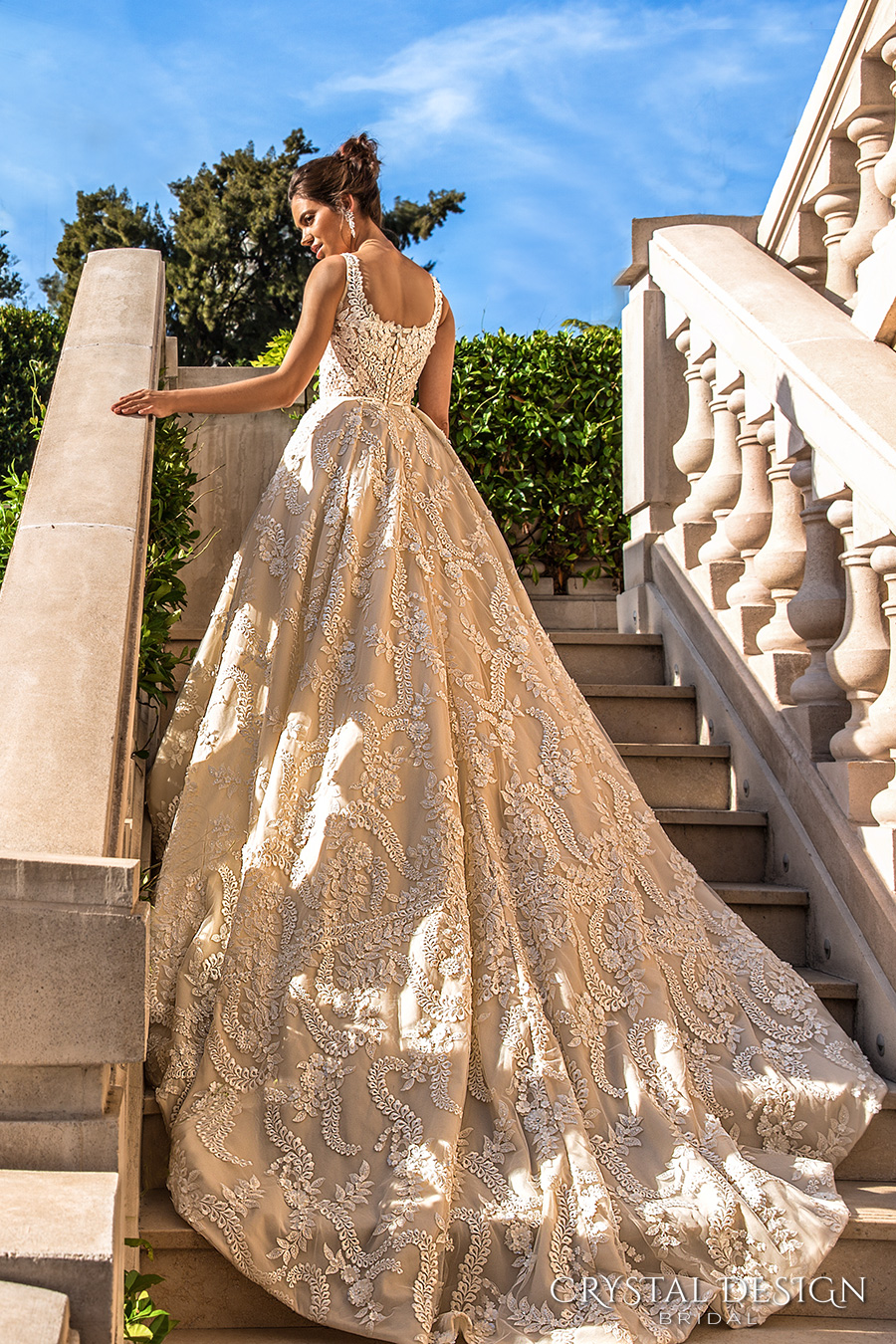 crystal design 2017 bridal sleeveless with strap scoop neckline full embellishment romantic princess ivory color ball gown a line wedding dress royal train (etolie) bv