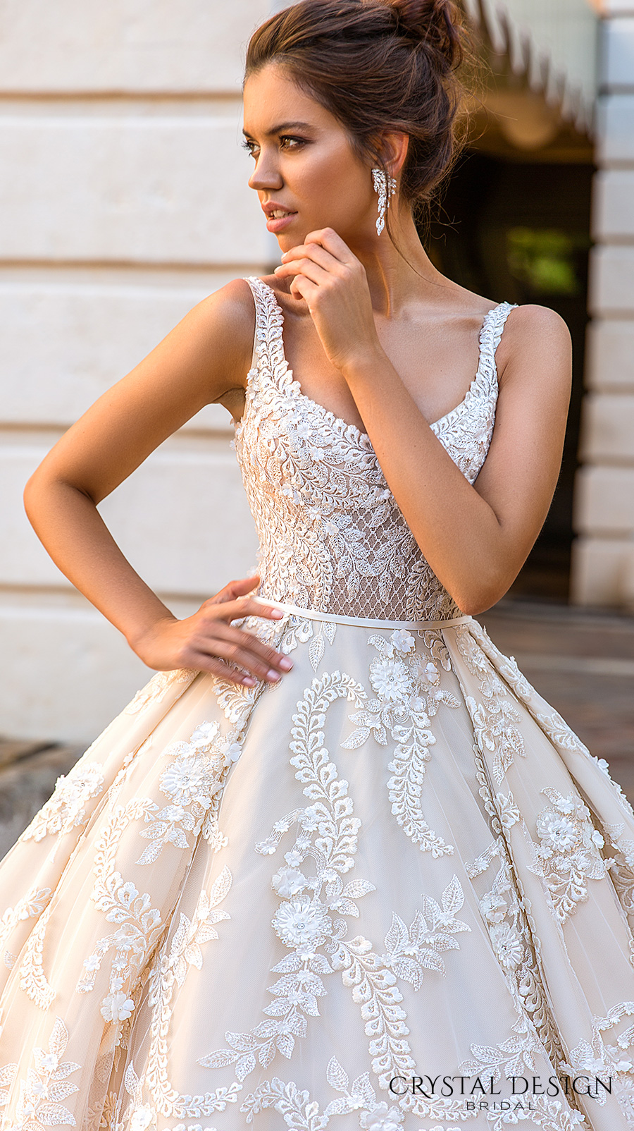 crystal design 2017 bridal sleeveless with strap scoop neckline full embellishment romantic princess ivory color ball gown a line wedding dress royal train (etolie) zv