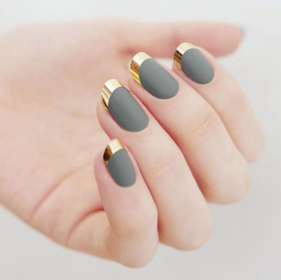 matte grey and gold tips