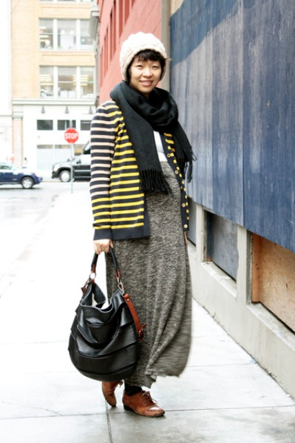 With gray maxi skirt, striped jacket, scarf and hat