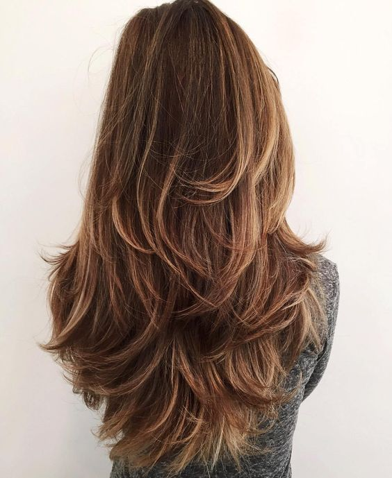 long layered haircut with highlights