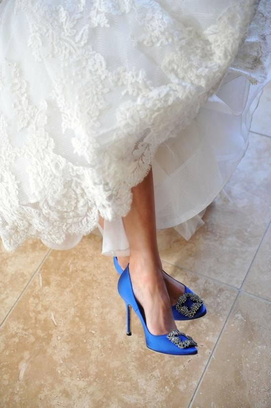 amazing royal blue Manolo Blahnik shoes with embellishments
