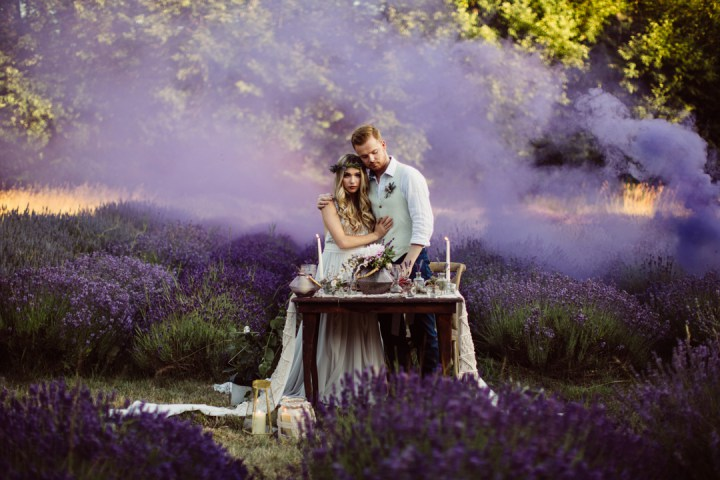 Purple smoke bombs were used to accentuate the setting