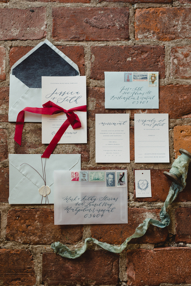 Christmas calligraphy wedding invitation suite | Amy Donohue Photography