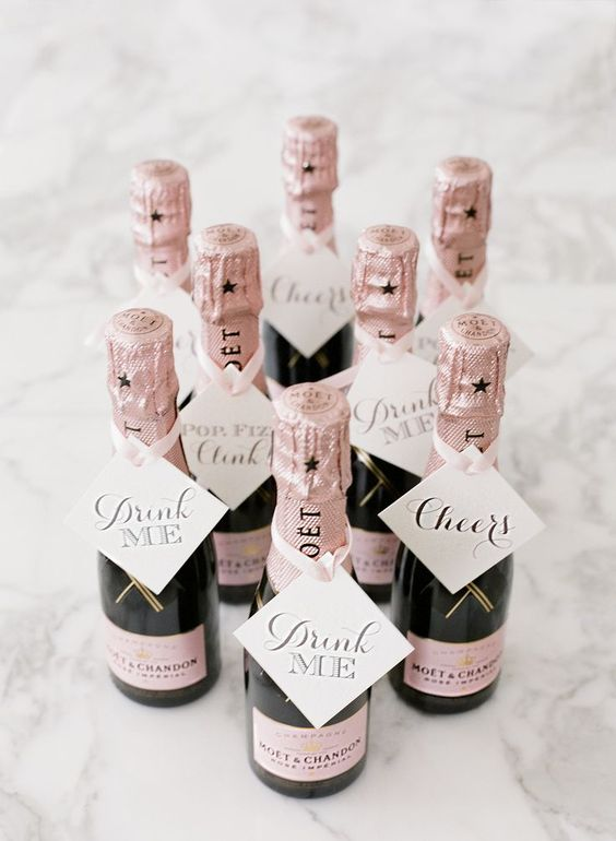 mini Moet bottles as wedding favors