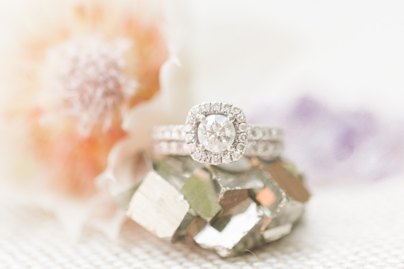 pave engagement rings - photo by Karlee K Photography http://ruffledblog.com/cheerful-desert-wedding-inspiration-with-bright-yellow