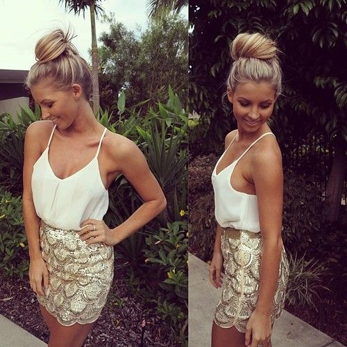 gold embellished mini and a white strap top