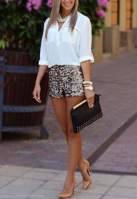 sequin shorts, a white shirt, nude heels and a statement necklace