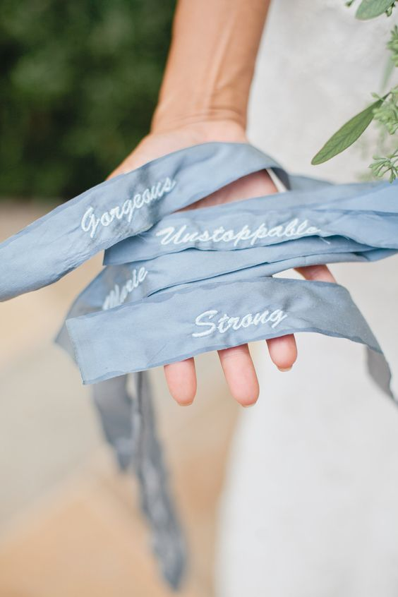 add pale blue ribbon to your bouquet