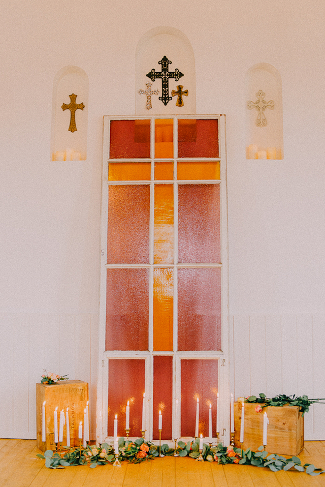 Stained class church wedding ceremony backdrop | GingerSnap Photography