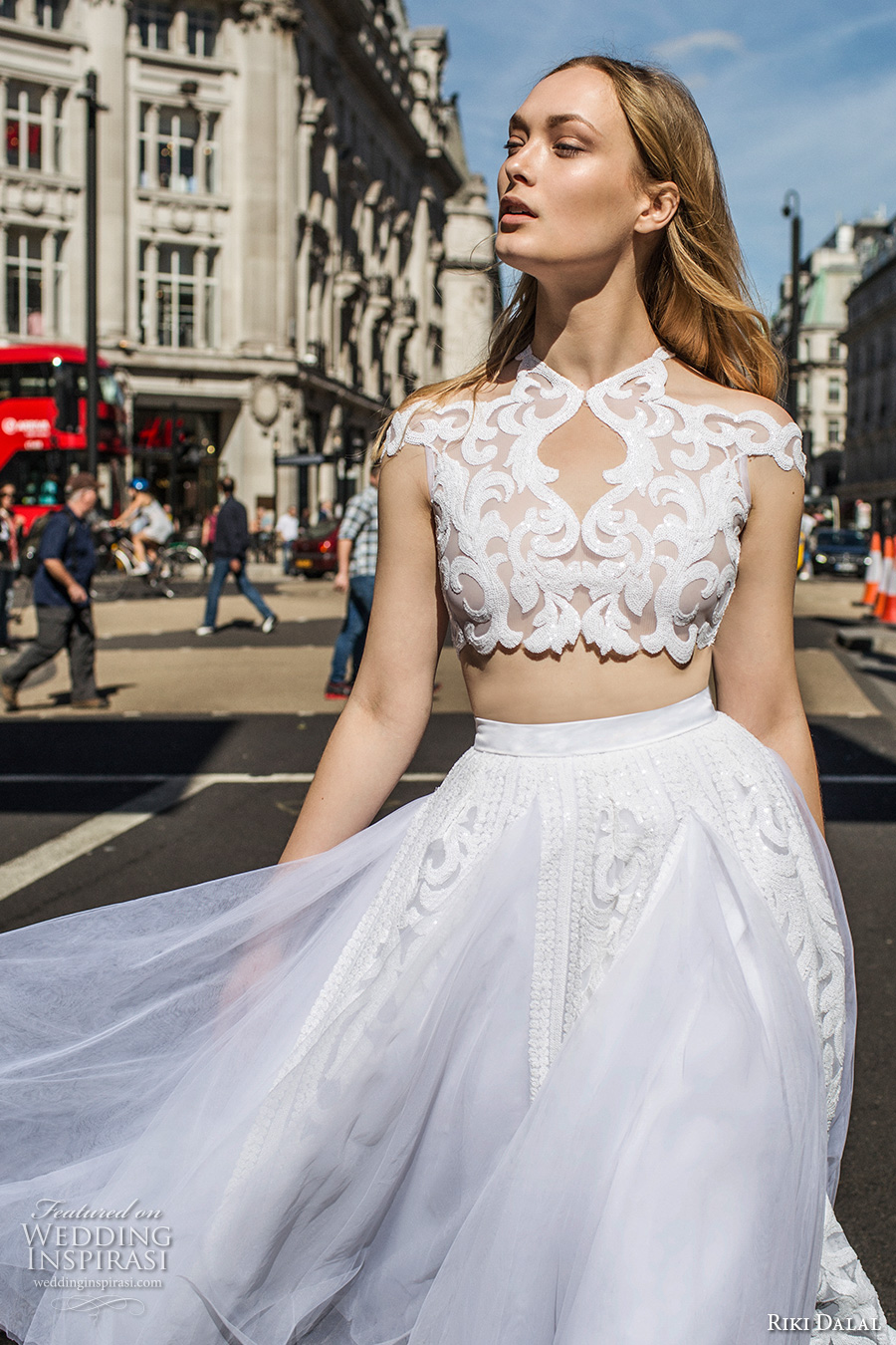 riki dalal fall 2017 bridal cap sleeves off the shoulder high neck heavily embellished bodice crop top tulle romantic short wedding dress (1903) zv