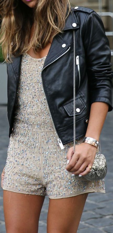 neutral sequin romper with a black leather jacket